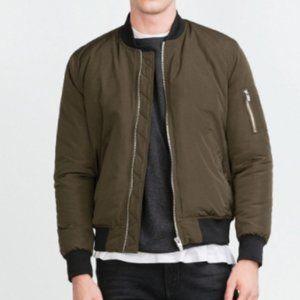 Zara Olive Green Bomber Jacket Size Small